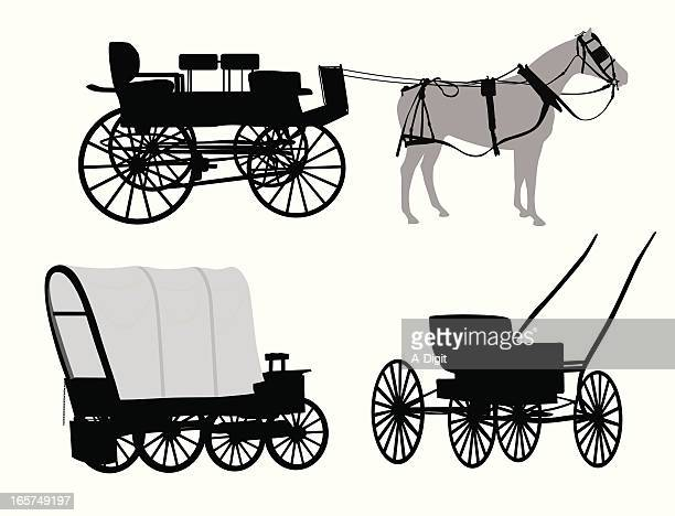 old wagons vector silhouette - horse cart stock illustrations, clip art, cartoons, & icons