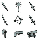 Old Weapons Icons Freehand 2 Color