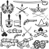 Old weapons, muskets, sabers, cannons, cores, hussar headgear. Design elements for label, emblem, sign. Vector illustration
