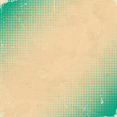 Old white scratched card with green halftone gradient