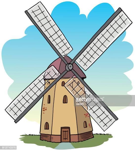 ilustraciones, imágenes clip art, dibujos animados e iconos de stock de antiguo molino de viento  - molino de viento