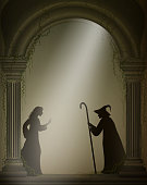 old witch and young girl in the old abandoned castle, Halloween characters or fairy characters,