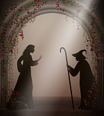 old witch and young girl in the old abandoned castle with red roses, Halloween characters or fairy characters,
