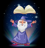 Old wizard below the floating empty book
