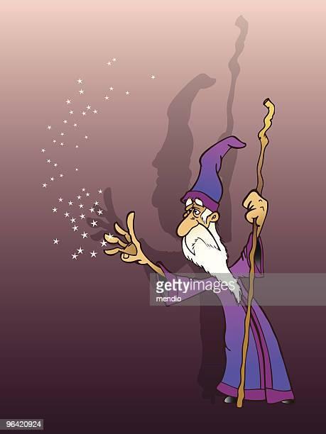 old assistenten erfüllung seiner magic - wizard stock-grafiken, -clipart, -cartoons und -symbole