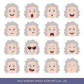 Old woman emoji icon set