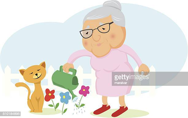 old woman garden - great grandmother stock illustrations