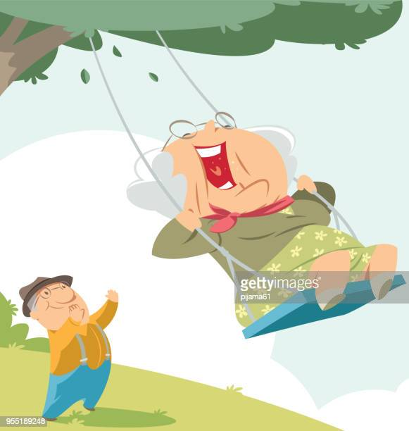 old woman on the swing - mature adult stock illustrations
