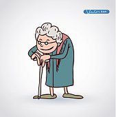 old woman, vector illustration.