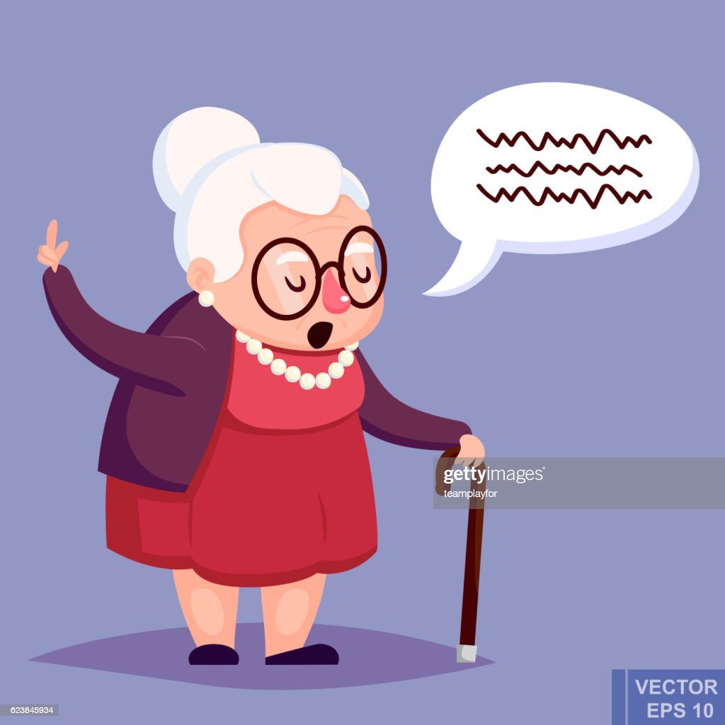 Old woman with cane. Senior lady glasses talking warning her