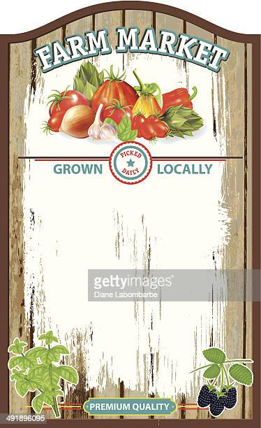 old wood farm market sign board - agricultural fair stock illustrations, clip art, cartoons, & icons