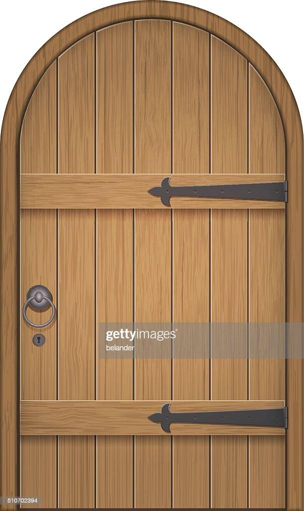old wooden arch door