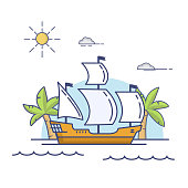 Old wooden historical sailing ship.The galleon floating by sea.Tropical sea landscape  palm trees and the vessel.