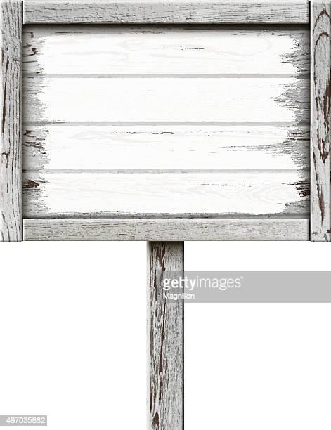 illustrazioni stock, clip art, cartoni animati e icone di tendenza di vecchia insegna in legno dipinto con vernice bianca - intelaiatura