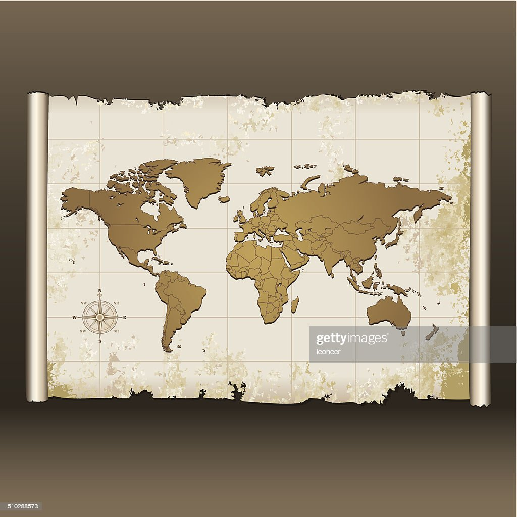 old world map on scroll vector art