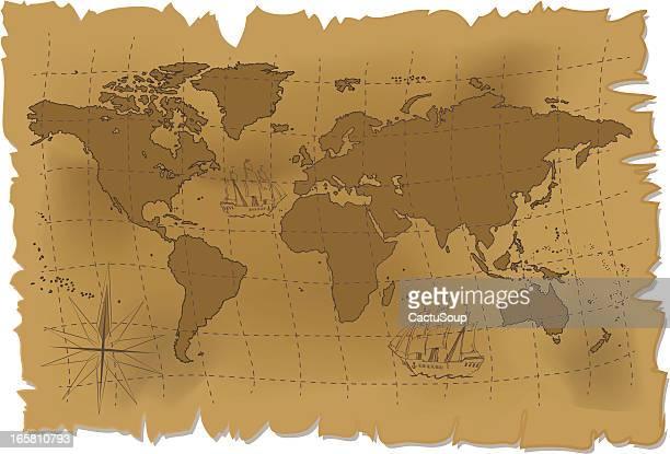 old world map. - treasuregold stock illustrations
