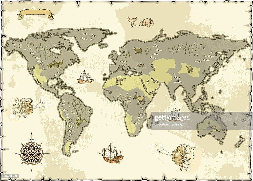 old world map vector art