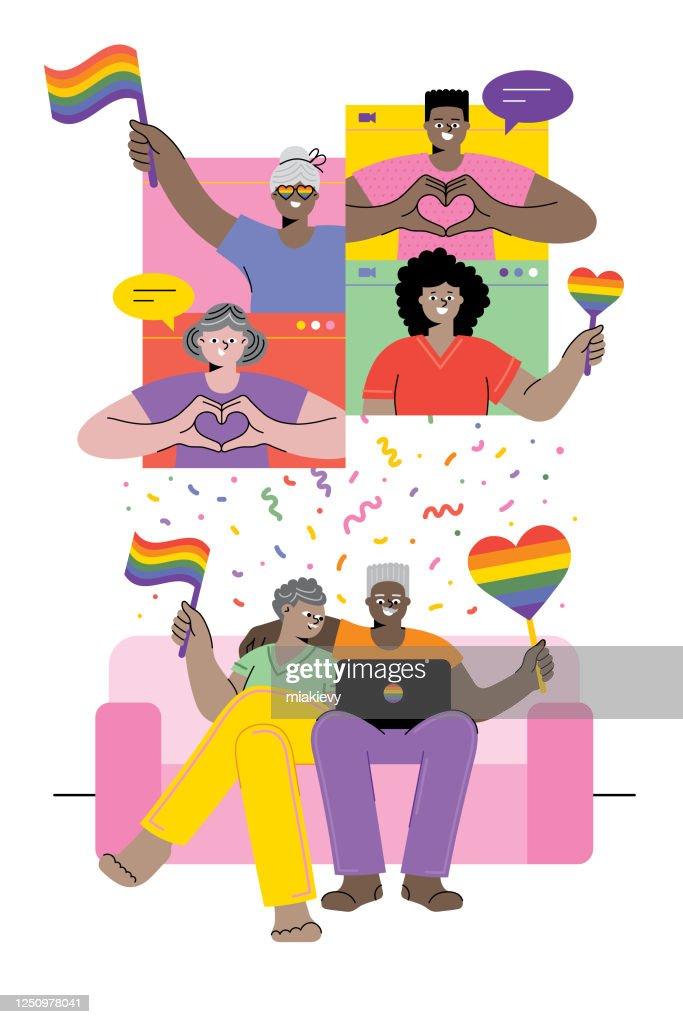 プライドを祝う年上のカップル : ストックイラストレーション