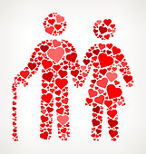 Older Couple  Red Hearts Love Pattern