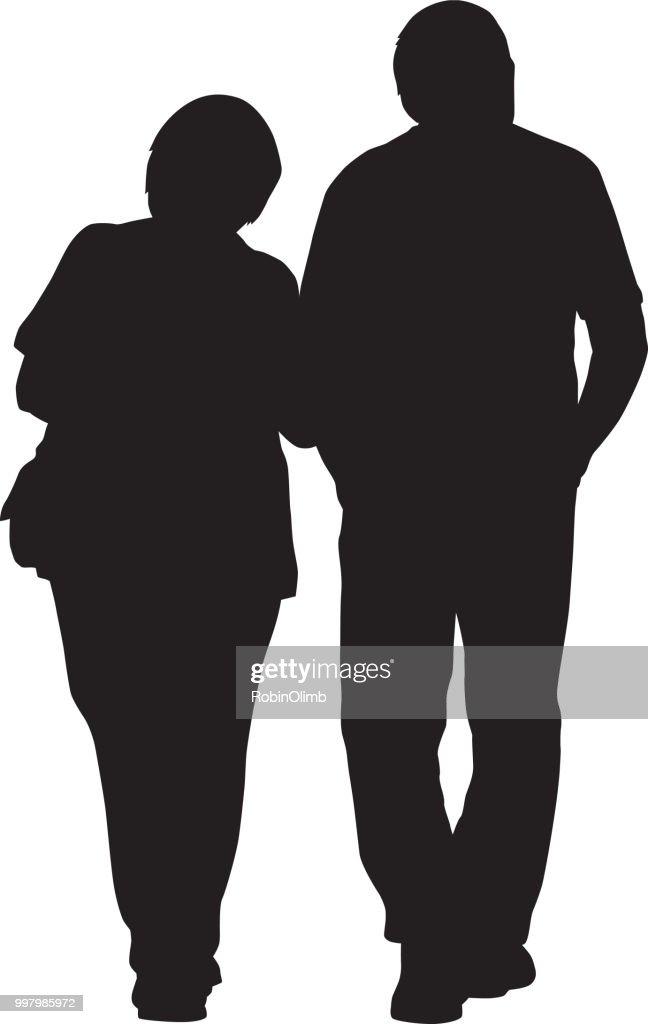 夫婦ウォーキング腕を組んで : ストックイラストレーション
