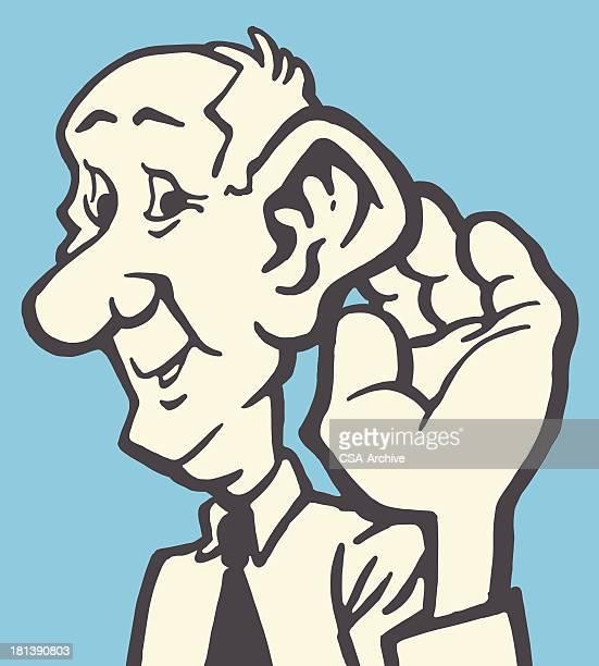 illustrations, cliparts, dessins animés et icônes de homme écoute plus - prothèse auditive