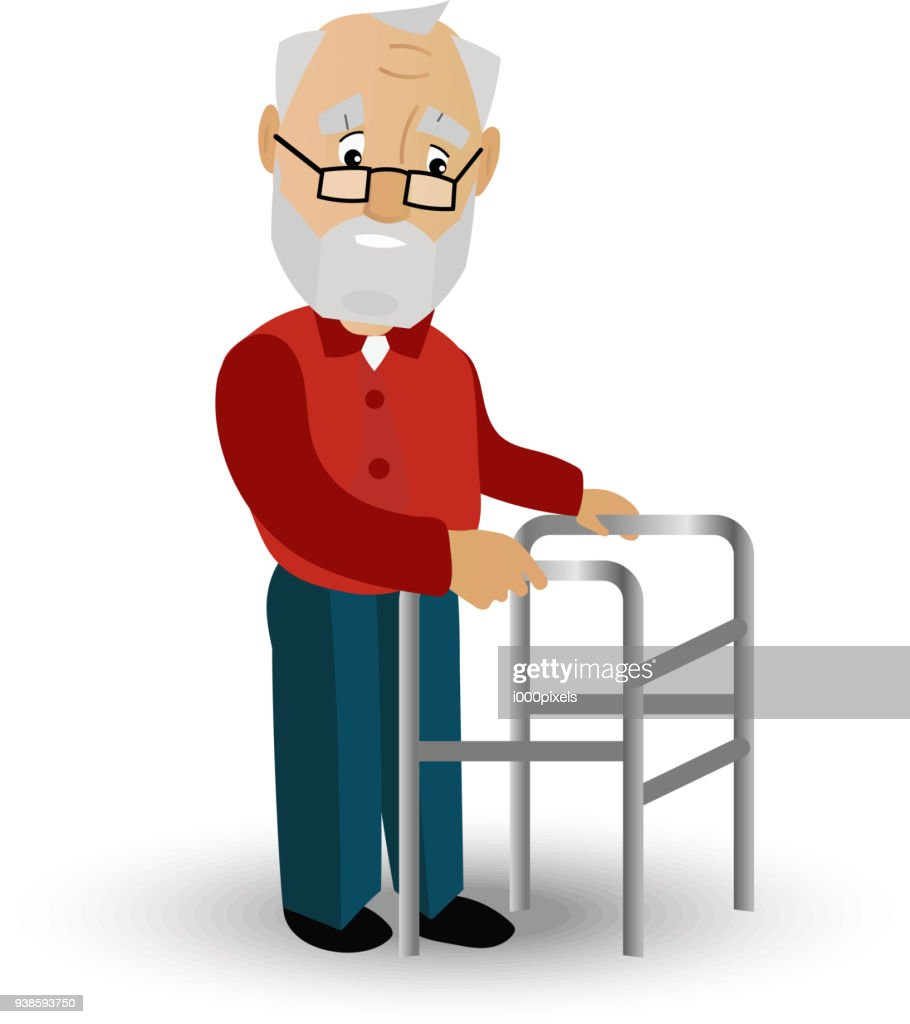 Older man on a walker needs medical care. May illustrate topics related to old age, the medical service of persons with disabilities