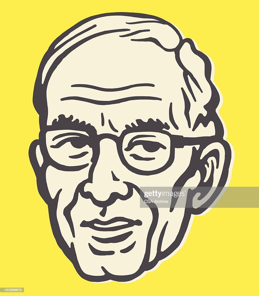 Older Man Wearing Glasses : stock illustration