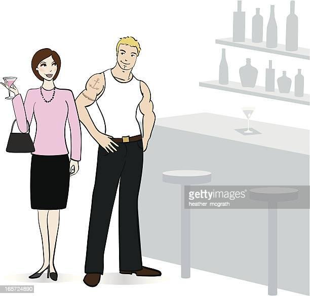 Femme et jeune homme plus