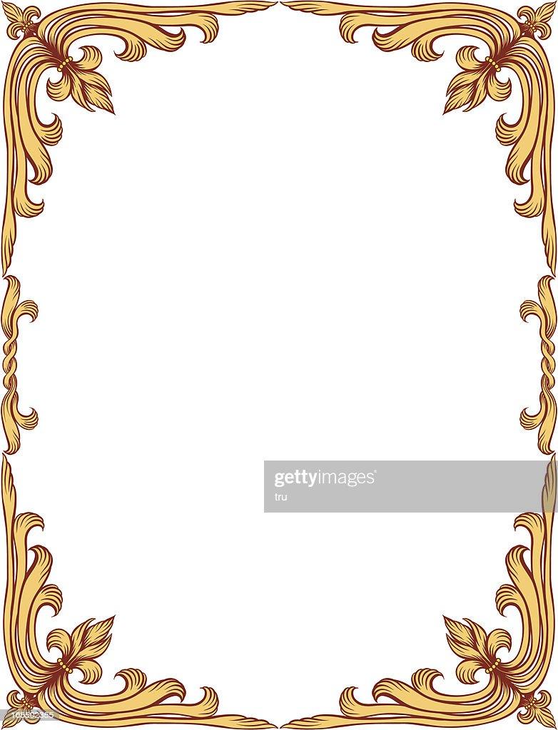 Oldfashioned Gold Fleurdelis Frame Vector Art Getty Images