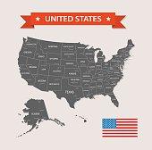 USA - old-fashioned map - Illustration