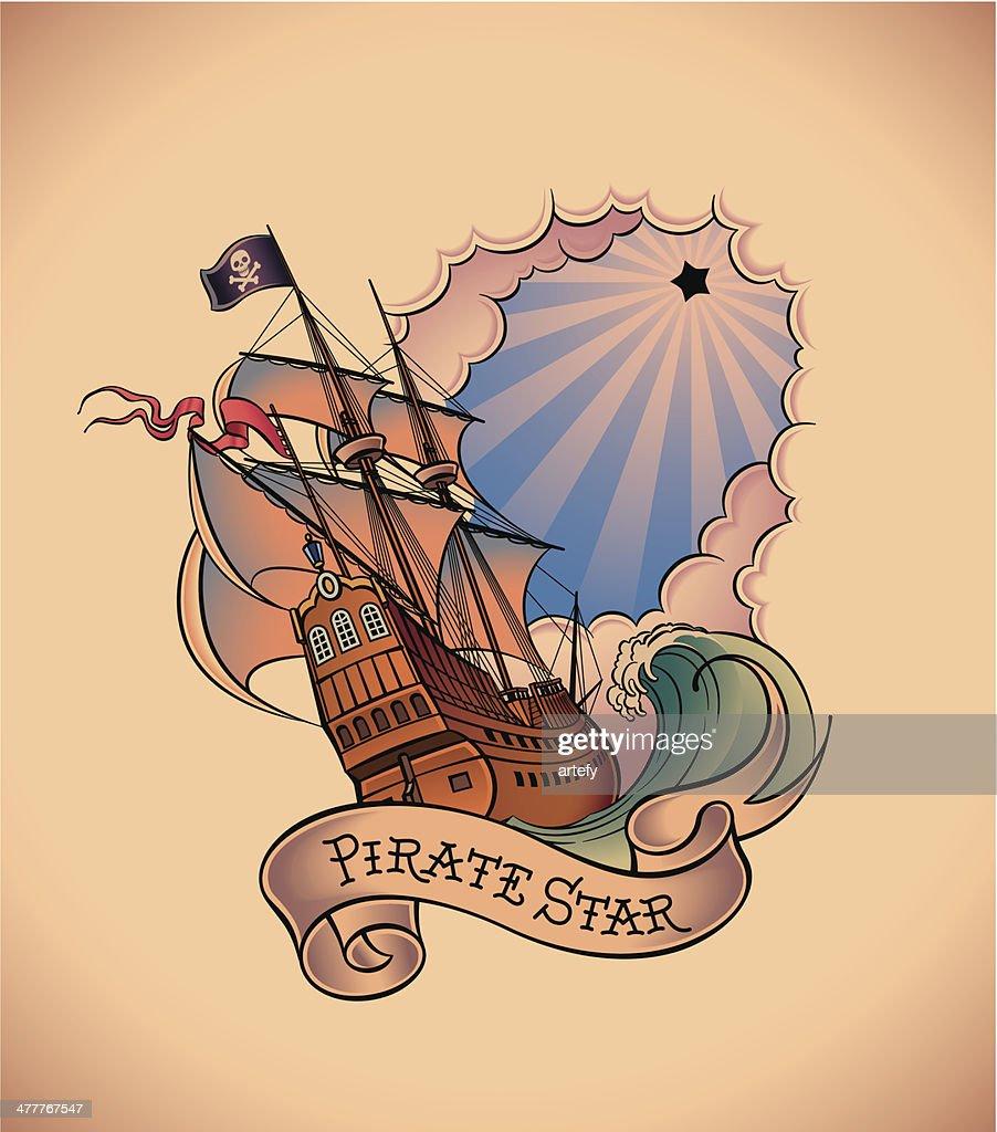 Old-school tattoo - Pirate Star