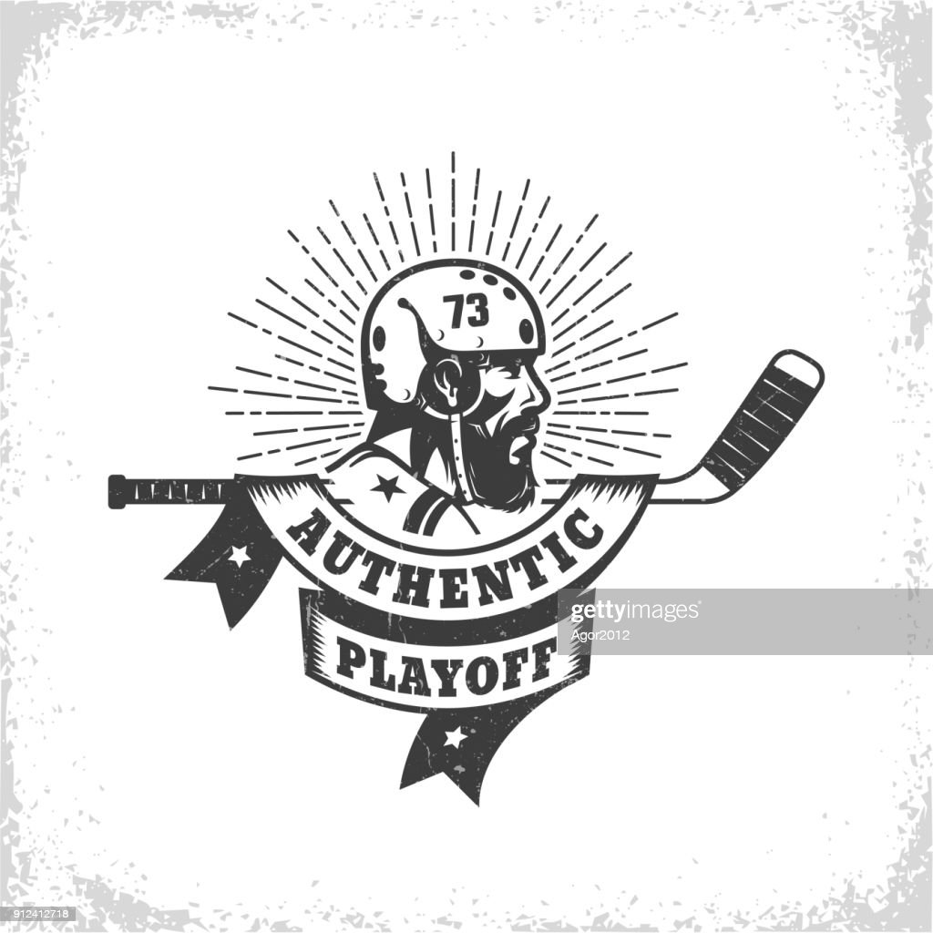 Old-school vintage hockey emblem  with bearded player