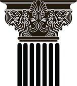 Old-style greece column. vector illustration