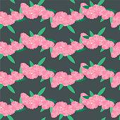 Oleander flower seamless background. Pink, flowers on black