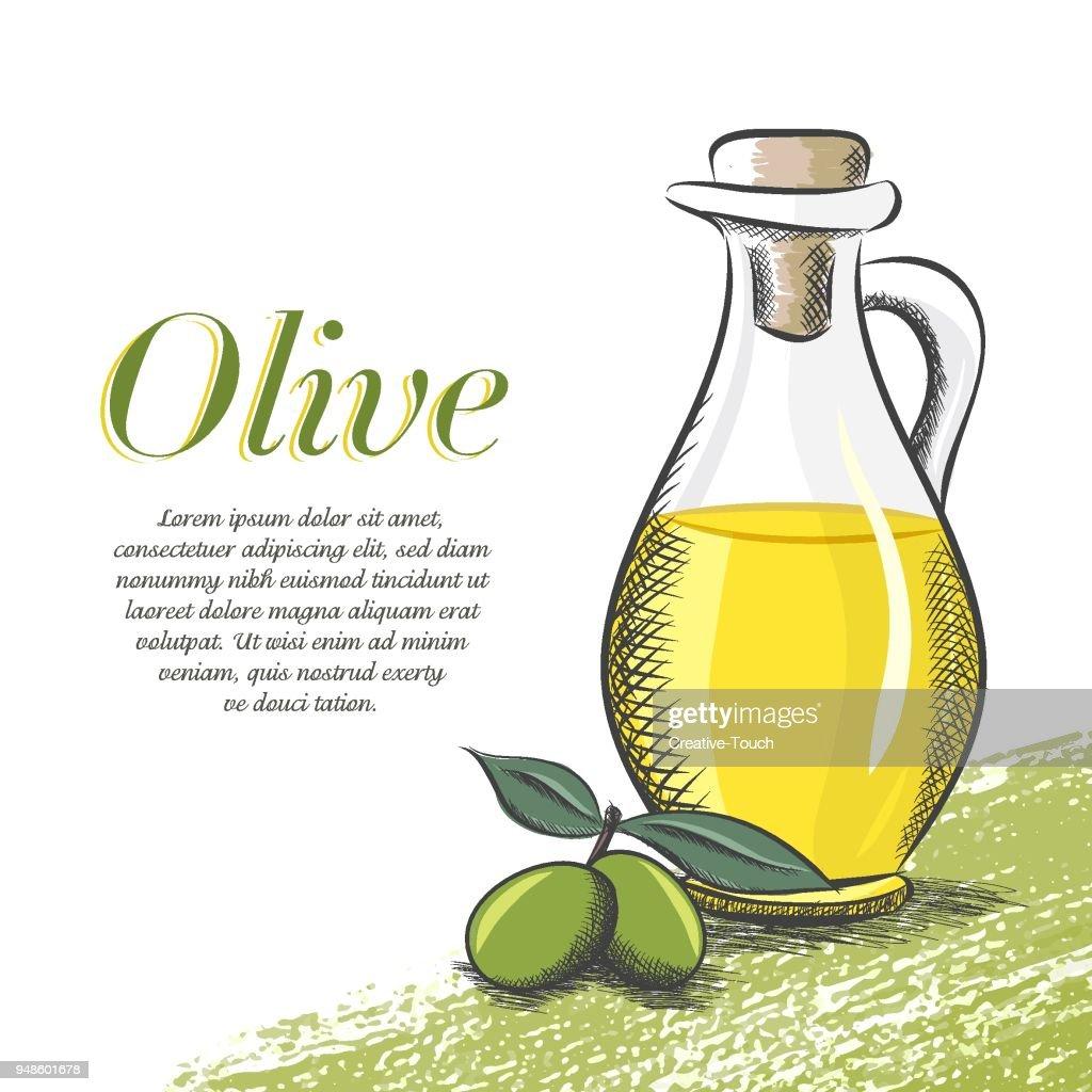 Olive and Olive Oil : stock illustration