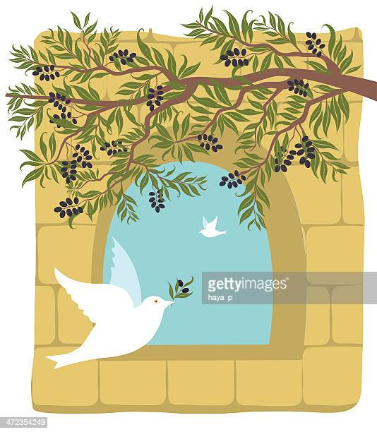 olive branch, dove on old stone wall background - passover stock illustrations