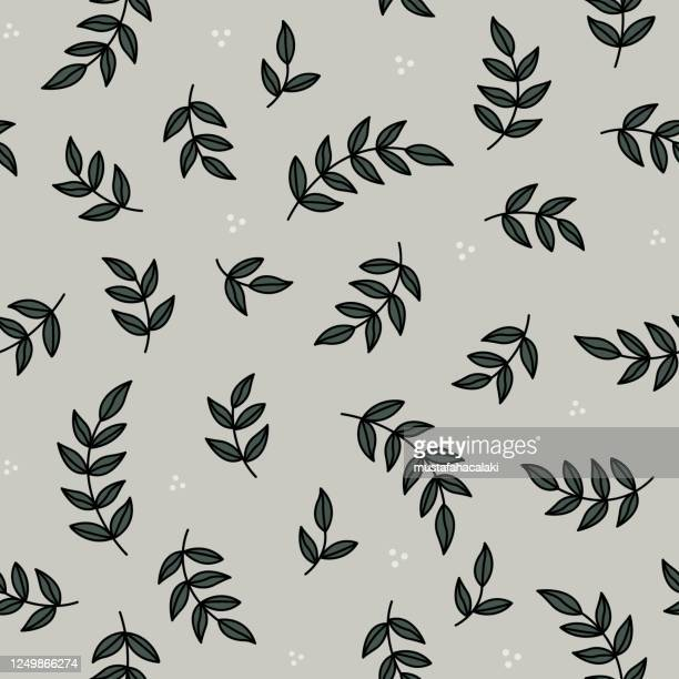 olive branch seamless pattern - olive branch stock illustrations
