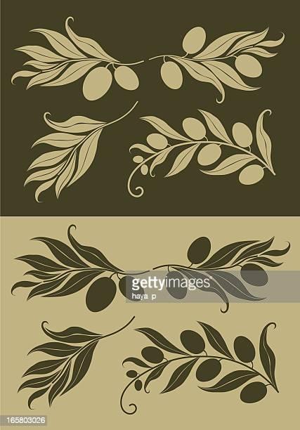 ilustraciones, imágenes clip art, dibujos animados e iconos de stock de olive branch silueta en fondo - rama de olivo
