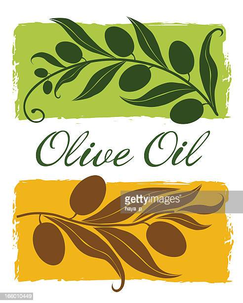 olive branch  silhouette on green and yellow backgrounds - olive branch stock illustrations
