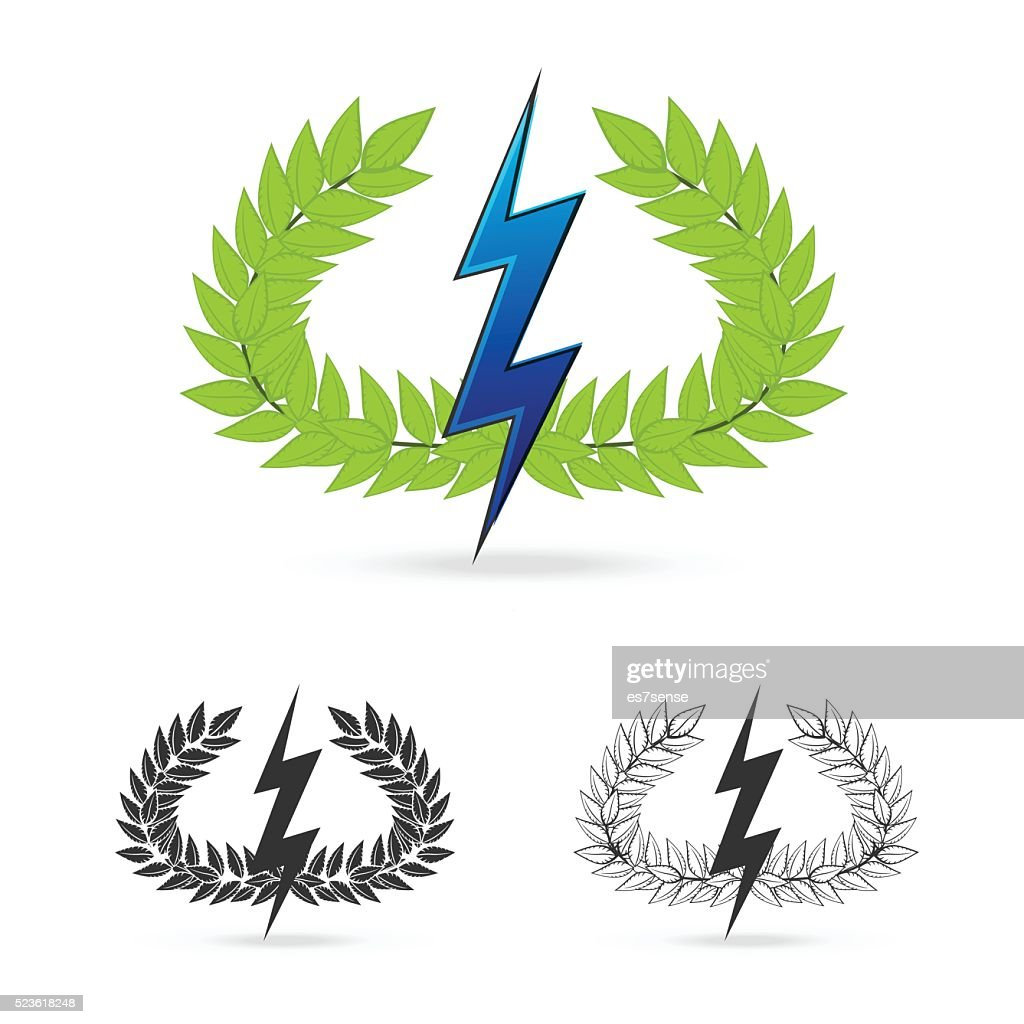 olive branch with thunder symbol of greek god zeus