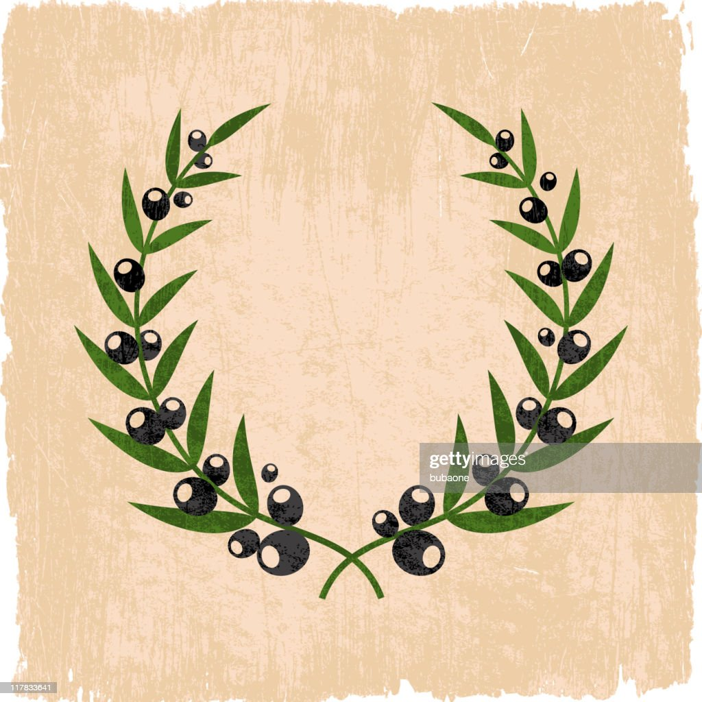 olive branch wreath on royalty free vector Background