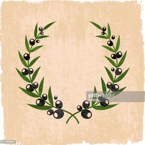 olive branch wreath on royalty free vector background - olive branch stock illustrations