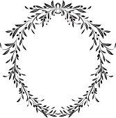 Olive Branches Oval Frame Design Element Vector Illustration