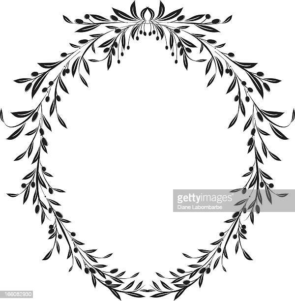olive branches oval frame design element vector illustration - olive branch stock illustrations