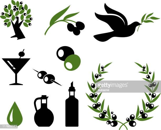 olive collection black and white royalty free vector icon set - olive branch stock illustrations