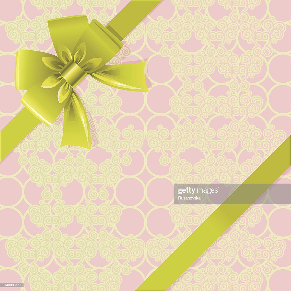 Olive gren bow on pink