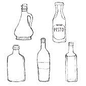 Olive oil bottle, pesto dressing bottle, home wine bottle.