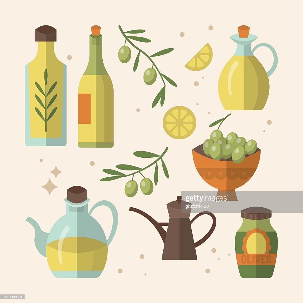 Olive oil bottles flat icon design. Vector illustration