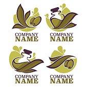 olive oil labels, emblems