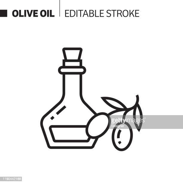 olive oil line icon, outline vector symbol illustration. pixel perfect, editable stroke. - olive oil stock illustrations